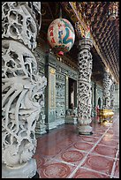 Carved stone pillars, Guandu Temple. Taipei, Taiwan (color)