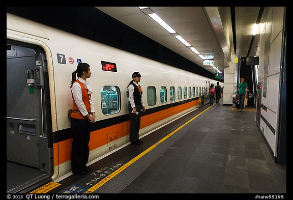 picturephoto hostess in front of high speed rail hsr