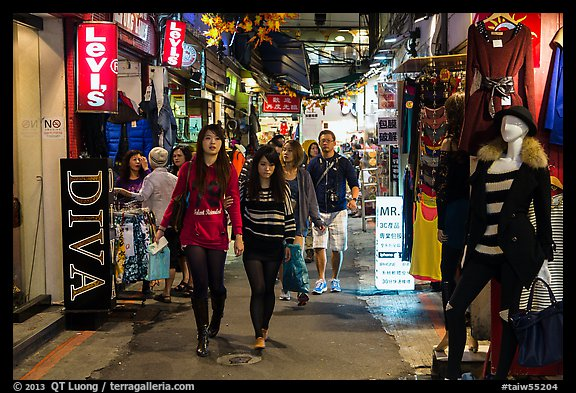 Women shopping in Shilin Night Market. Taipei, Taiwan (color)