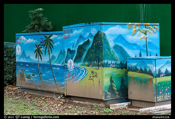 Decorated electric utilities boxes and wall. Taipei, Taiwan (color)