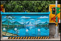 Electric utility boxe with nature landscape painting. Taipei, Taiwan