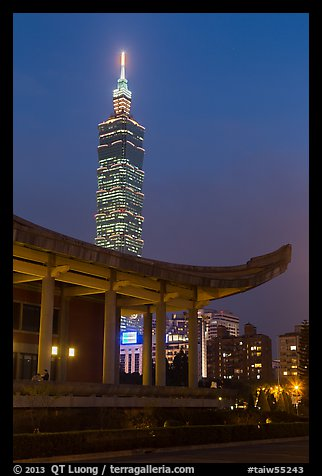 Sun Yat-sen Memorial Hall and Taipei 101 at dusk. Taipei, Taiwan