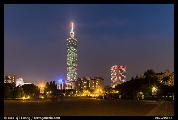 Taipei 101 at night from below. Taipei, Taiwan (color)