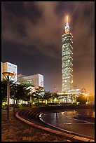 Taipei 101 at night from city hall plaza. Taipei, Taiwan (color)
