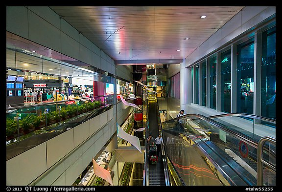 Escalators designed for luggage carts, Taoyuan Airport. Taiwan (color)