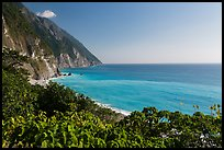 Sea cliffs and turquoise waters. Taroko National Park, Taiwan (color)