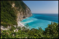 Verdant cliffs and turquoise waters. Taroko National Park, Taiwan (color)