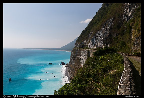 Road atop steep see cliffs overlooking ocean. Taroko National Park, Taiwan (color)