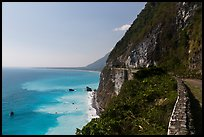 Road atop steep see cliffs overlooking ocean. Taroko National Park, Taiwan ( color)
