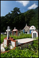 Cemetery and lush hills, Chongde. Taiwan (color)