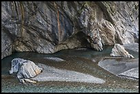 Creek and marbled walls, Taroko Gorge. Taroko National Park, Taiwan ( color)