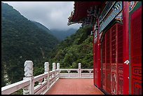 Red temple and green mountains. Taroko National Park, Taiwan ( color)