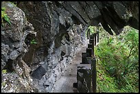Narrow trail under rock overhang, Taroko Gorge. Taroko National Park, Taiwan ( color)
