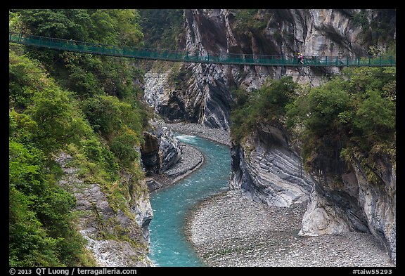 Gorge and suspension bridge, Taroko Gorge. Taroko National Park, Taiwan (color)
