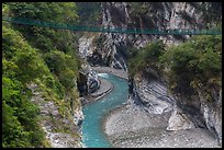 Gorge and suspension bridge, Taroko Gorge. Taroko National Park, Taiwan ( color)