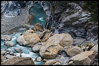 Boulders, marbled gorge walls, and Liwu River. Taroko National Park, Taiwan (color)