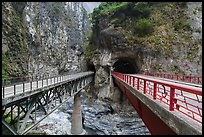 Bridges spanning Liwu River, Taroko Gorge. Taroko National Park, Taiwan ( color)