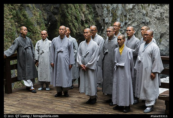Buddhist monks. Taroko National Park, Taiwan (color)