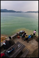 Family fishing. Sun Moon Lake, Taiwan ( color)