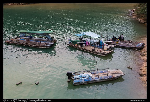 Boats and fishermen. Sun Moon Lake, Taiwan (color)