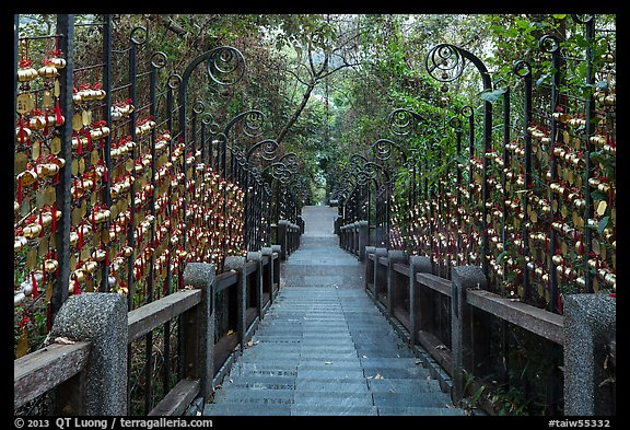 Stairs to temple lined up with blessing wind chimes. Sun Moon Lake, Taiwan (color)