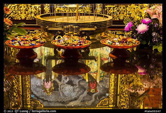 Reflections on altar table top, Wen Wu temple. Sun Moon Lake, Taiwan (color)