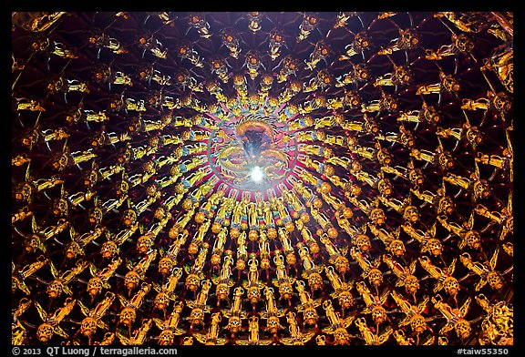Ceiling detail in main hall, Wen Wu temple. Sun Moon Lake, Taiwan (color)