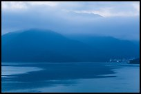 Itashao Village and cloud-shrounded mountains at dawn. Sun Moon Lake, Taiwan ( color)