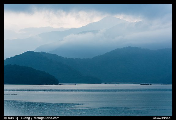 Misty mountains. Sun Moon Lake, Taiwan (color)
