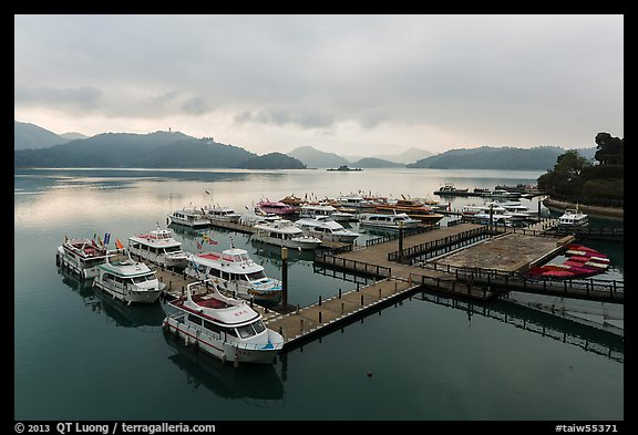 Shueishe Pier, early morning. Sun Moon Lake, Taiwan (color)