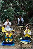 Members of religious sect in meditation. Sun Moon Lake, Taiwan ( color)