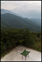 Pavilion from above and misty mountains, Tsen Pagoda. Sun Moon Lake, Taiwan ( color)
