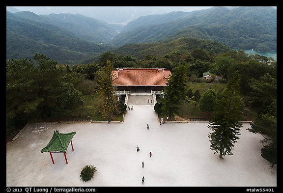 Grounds of Tsen Pagoda seen from the tower. Sun Moon Lake, Taiwan (color)