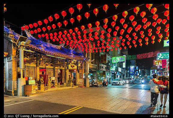 Street at night with temple and red paper lanterns. Lukang, Taiwan (color)