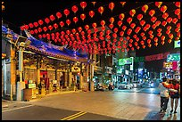 Street at night with temple and red paper lanterns. Lukang, Taiwan ( color)