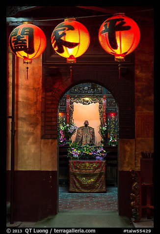 Lanterns and altar, Matsu Temple. Lukang, Taiwan (color)