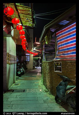 Chinseng Lane at night with lanterns. Lukang, Taiwan (color)