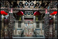 Facade of Matsu temple with closed doors at night. Lukang, Taiwan (color)
