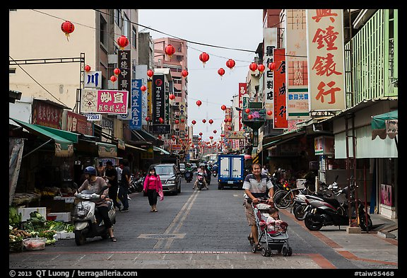 Street with paper lanterns. Lukang, Taiwan (color)