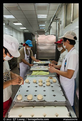 Workers in dumpling bakery. Lukang, Taiwan (color)