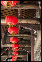 Paper lanterns and woodwork, Longshan Temple. Lukang, Taiwan (color)