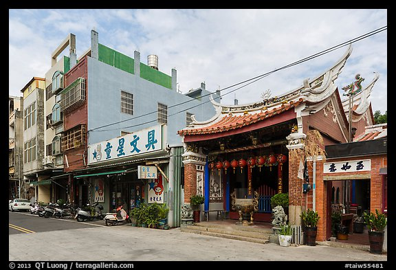 Street with small temple. Lukang, Taiwan (color)