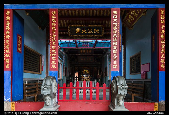 Temple painted red and blue. Lukang, Taiwan (color)