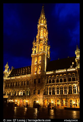 Town hall, Grand Place, dusk. Brussels, Belgium (color)