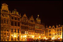Guildhalls at night, Grand Place. Brussels, Belgium (color)
