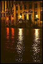 Lights reflected in wet cobblestones, Grand Place. Brussels, Belgium (color)