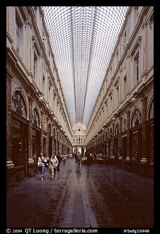 Galeries St Hubert, Europe's first shopping arcade, built in 1846. Brussels, Belgium (color)