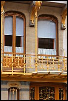 Balcony of Horta Museum in Art Nouveau style. Brussels, Belgium (color)