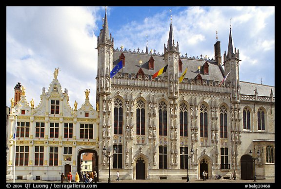 Stadhuis, Belgium's oldest town hall. Bruges, Belgium (color)