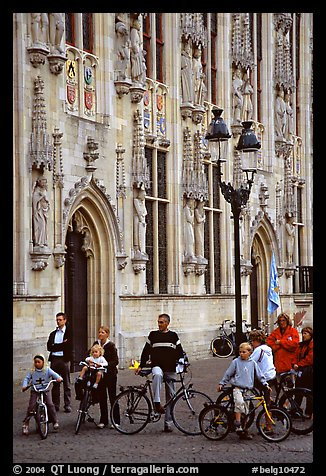 People standing on the Burg, in front of the Stadhuis. Bruges, Belgium (color)